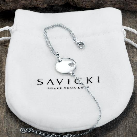 Bransoletka celebrytka serce Savicki: srebrna