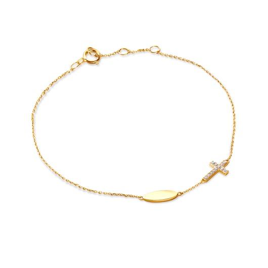 Bransoletka z krzyżykiem Savicki: złota, diamenty