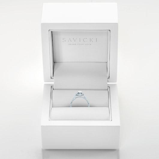 Pierścionek SAVICKI: białe złoto, diamenty