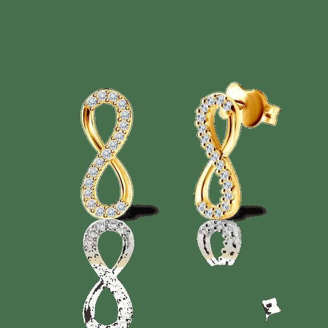 Kolczyki nieskończoność Savicki: złote, cyrkonie