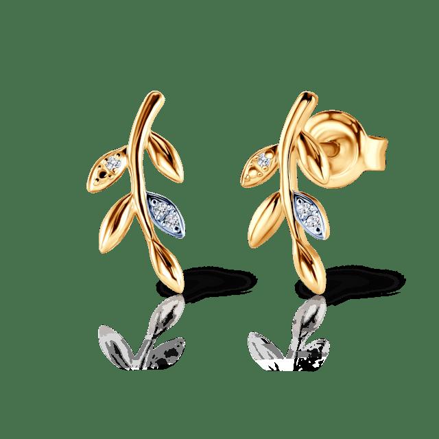 Kolczyki liść Savicki: złote, diamenty