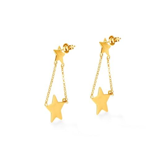 Kolczyki wiszące gwiazdki Savicki: srebrne pozłacane