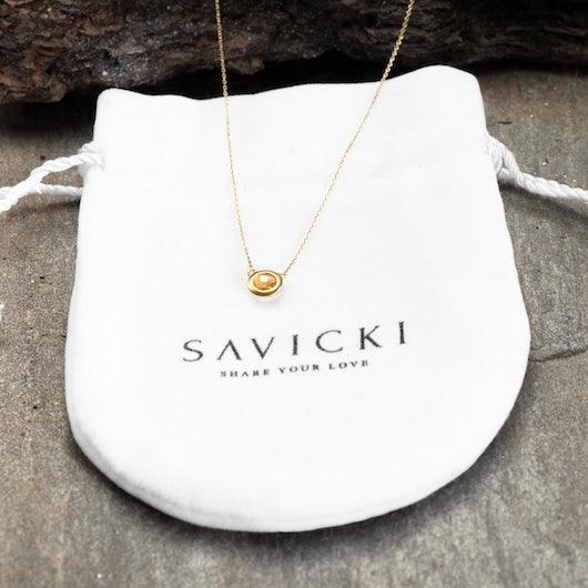 Naszyjnik Savicki: złoty, cytryn