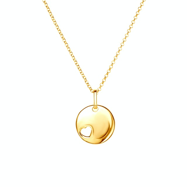 Necklace Hanging Heart Savicki: gold-plated silver