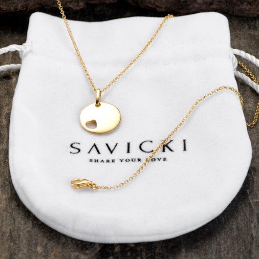 Naszyjnik wiszący serce Savicki: srebrny pozłacany