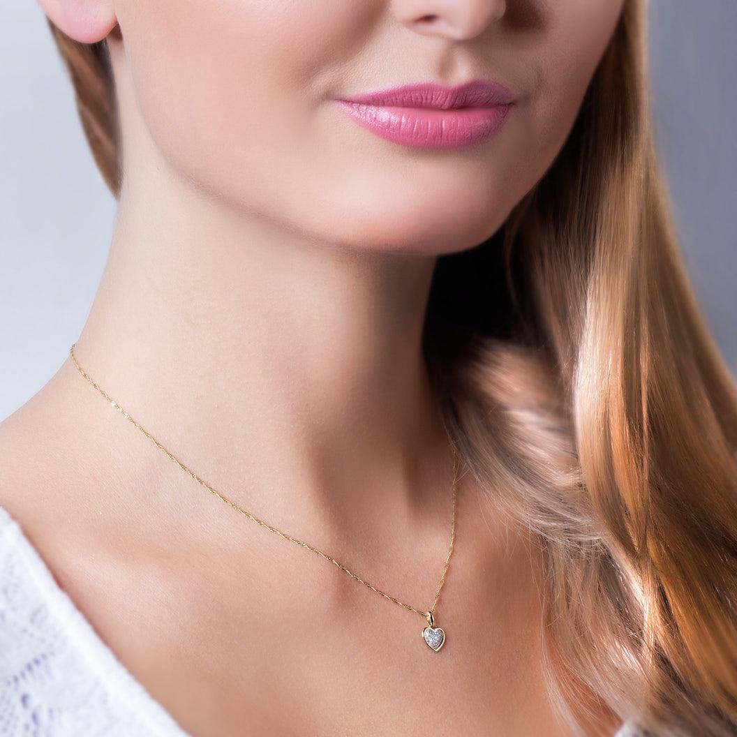 Zawieszka serce Savicki: złota, diamenty