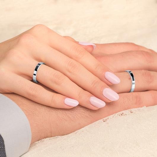 Obrączki ślubne: białe złoto, płaskie, 3 mm