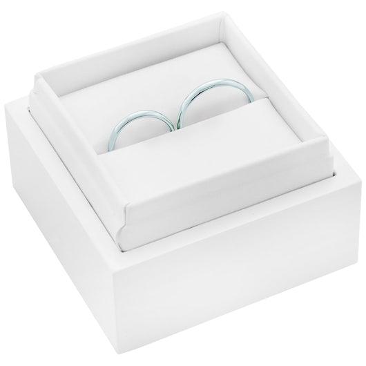 Obrączki ślubne: białe złoto, półokrągłe, 2 mm