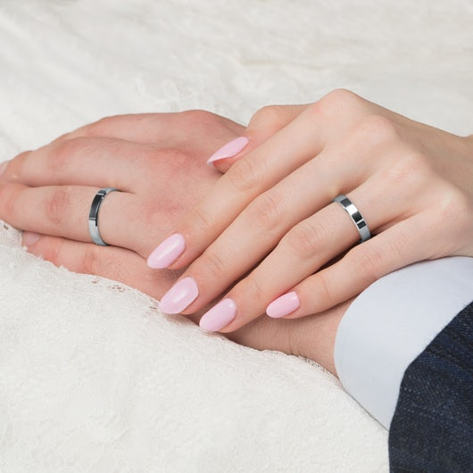 Wedding Rings: white gold, Flat-Sided, 4 mm