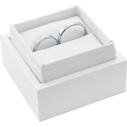Snubní prsteny: bílé zlato, s drážkou, 4 mm