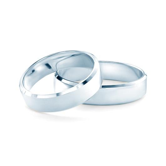 Obrączki ślubne: białe złoto, z fazą, 5 mm