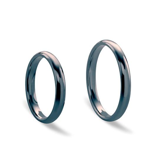 Obrączki ślubne: czarne złoto, półokrągłe, 3 mm
