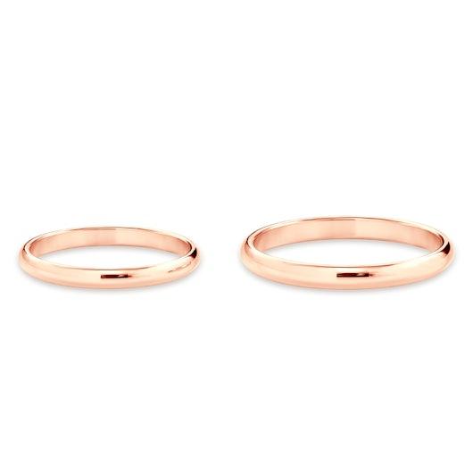 Obrączki ślubne: różowe złoto, półokrągłe, 2 mm