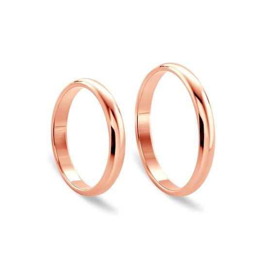 Obrączki ślubne: różowe złoto, półokrągłe, 4 mm