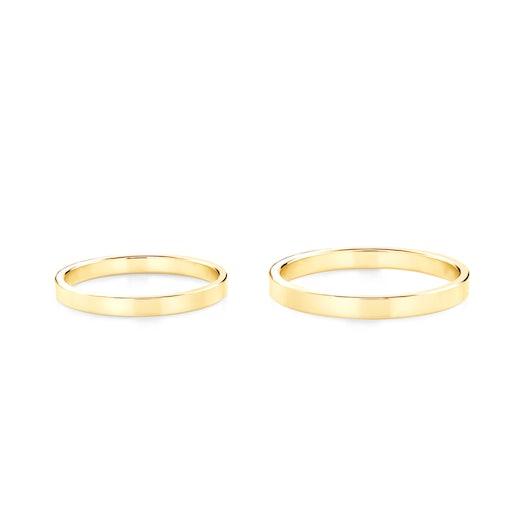 Obrączki ślubne: złote, płaskie, 2 mm