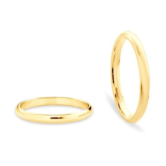Obrączki ślubne: złote, półokrągłe, 2 mm