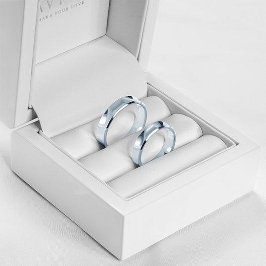 Obrączki ślubne: białe złoto, wklęsłe, 4 mm