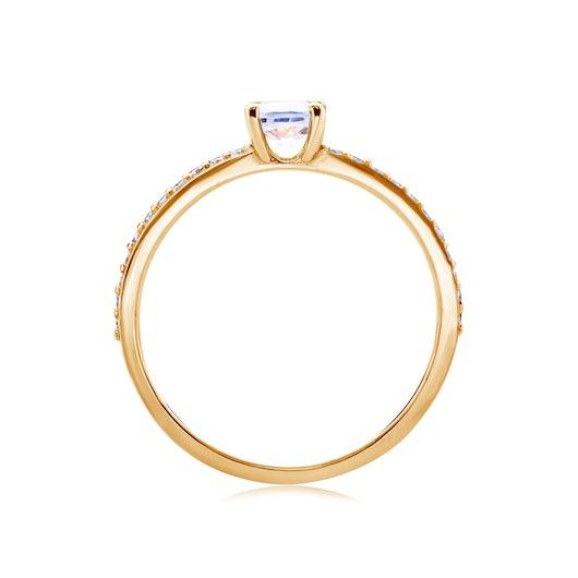 Pierścionek zaręczynowy SAVICKI: złoty, biały szafir