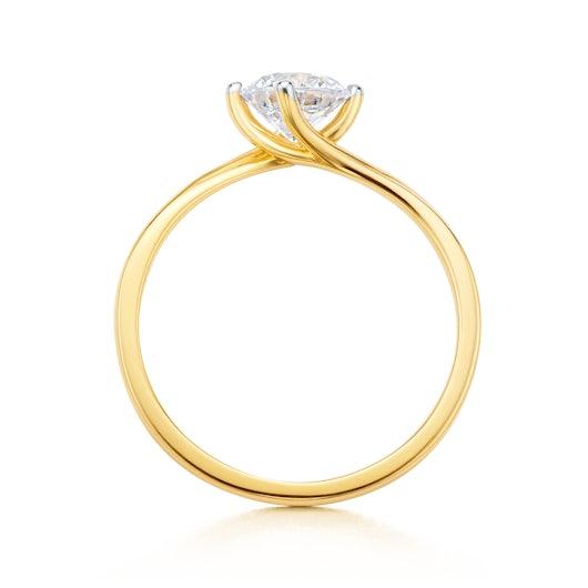 Pierścionek zaręczynowy SAVICKI: dwukolorowe złoto, z cyrkonią