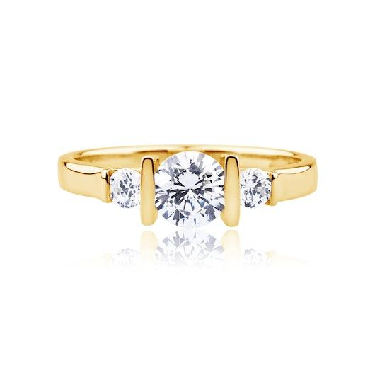 Pierścionek zaręczynowy Classical Inspiration: złoty, diamenty