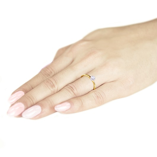 Pierścionek zaręczynowy SAVICKI: złoty, diament