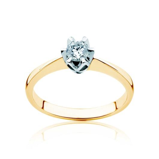 Pierścionek zaręczynowy Triumph of Love: dwukolorowe złoto, z diamentem