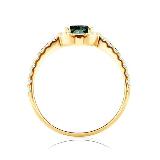 Pierścionek zaręczynowy This is Love: złoty, szmaragd