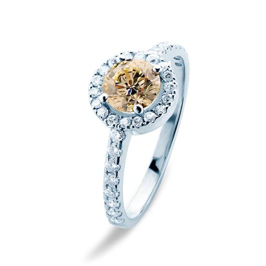 Pierścionek zaręczynowy This is Love: białe złoto, brązowy diament