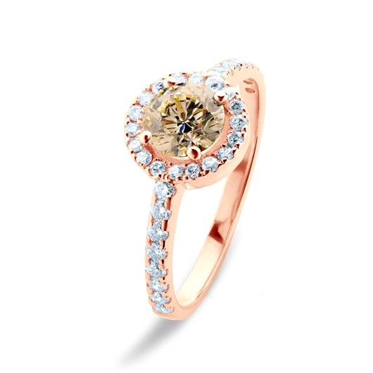 Pierścionek zaręczynowy This is Love: różowe złoto, brązowy diament