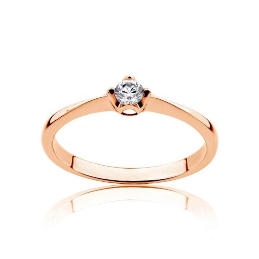 Pierścionek zaręczynowy Savicki: różowe złoto, diament