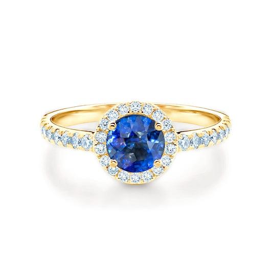 Pierścionek zaręczynowy This is Love: złoty, niebieski szafir