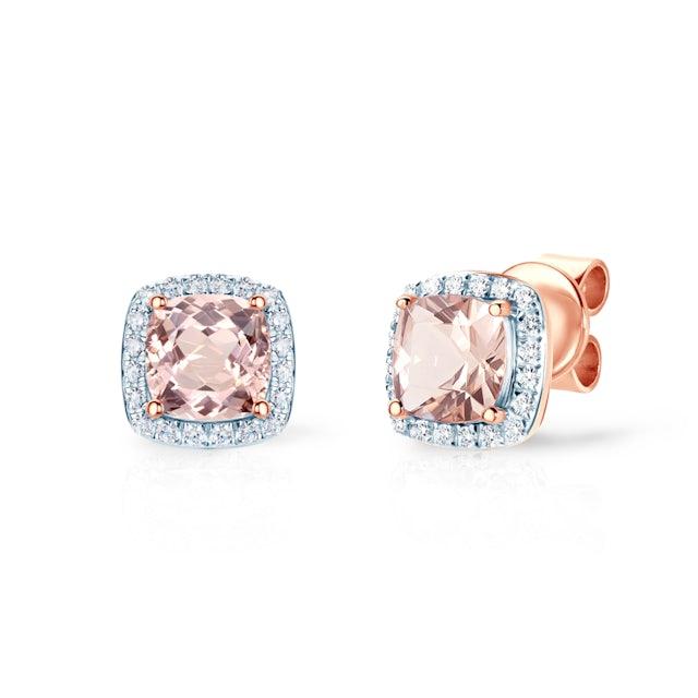 Kolczyki Savicki: różowe złoto, morganity, diamenty