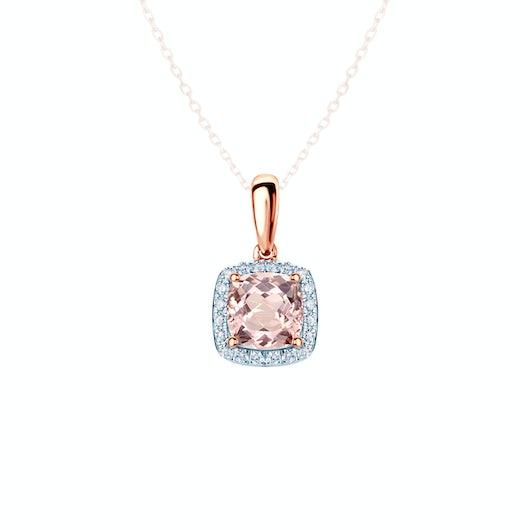 Zawieszka Savicki: różowe złoto, morganit, diamenty