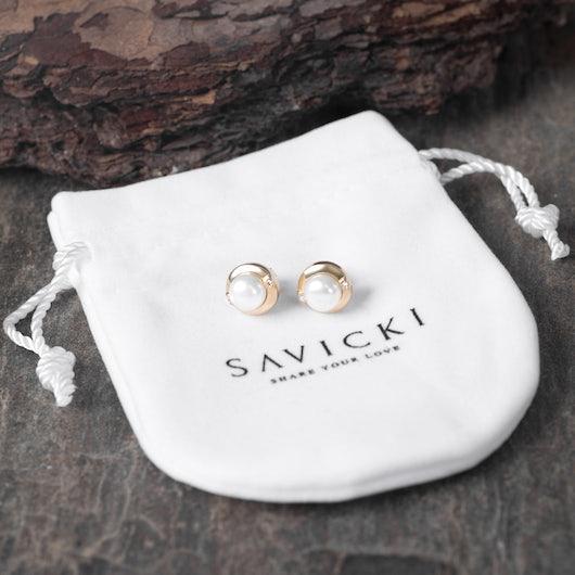 Kolczyki Savicki: złote, perły, cyrkonie
