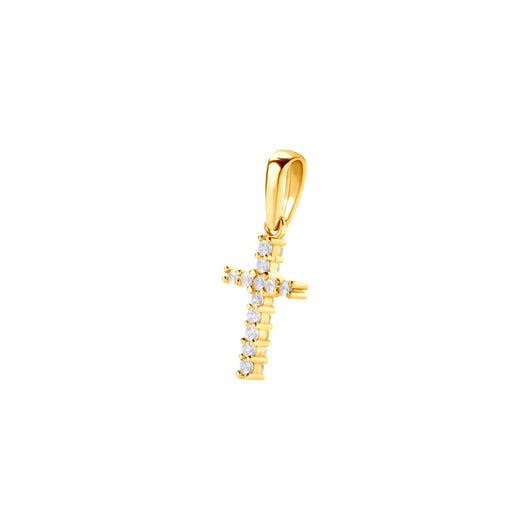 Zawieszka Krzyżyk Savicki: żółte złoto, cyrkonia