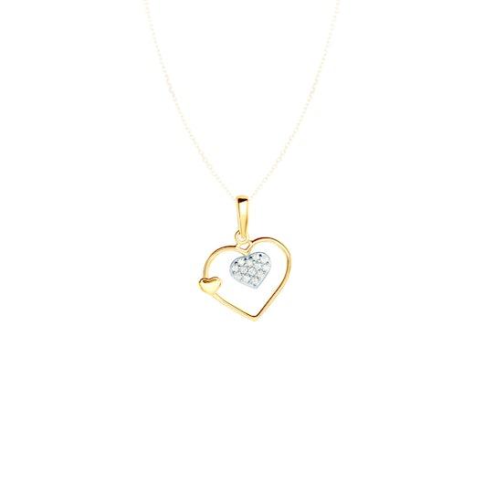 Zawieszka serce Savicki: dwukolorowe złoto, cyrkonie