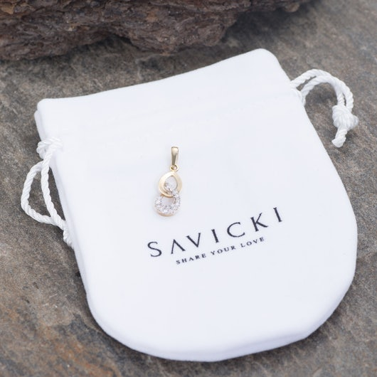 Zawieszka Savicki: dwukolorowe złoto, cyrkonie