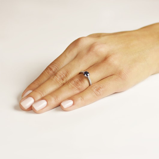 Side-Stone Engagement Ring: white gold, blue sapphire