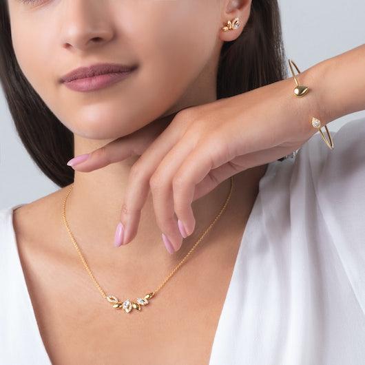 Komplet biżuterii Nature: srebro pozłacane, cyrkonie