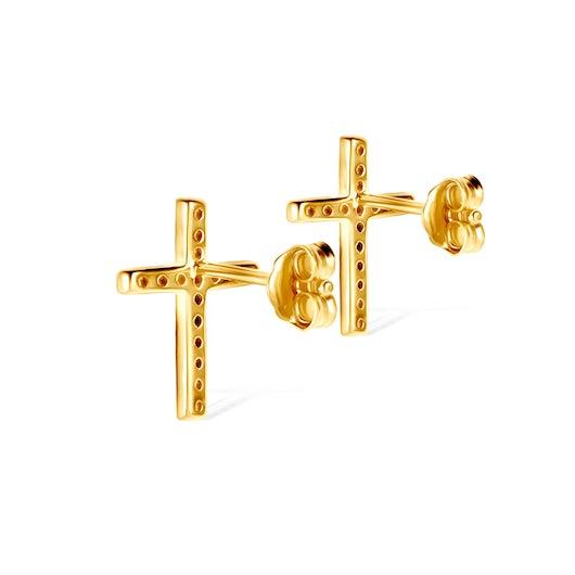 Kolczyki krzyżyk Savicki: srebrne pozłacane, cyrkonie