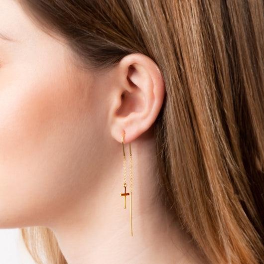 Kolczyki krzyżyk Savicki: srebrne pozłacane