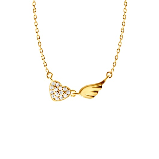 Necklace Heart Savicki: gold-plated silver, cubic zirconia