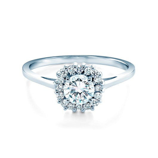 Halo Engagement Ring: white gold, white sapphire