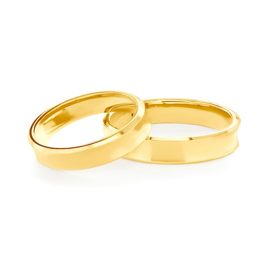 Wedding Rings: gold, Concaved, 4 mm