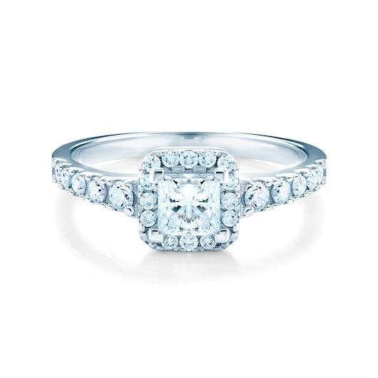 Halo Engagement Ring: white gold, diamond
