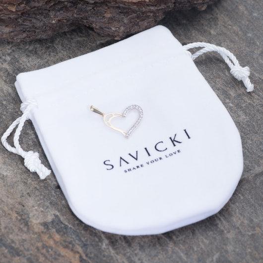 Zawieszka serce Savicki: dwukolorowe złoto, cyrkonia
