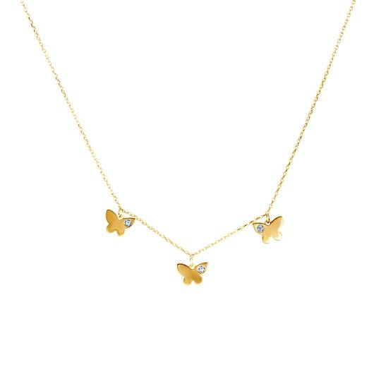 Naszyjnik motylki Animals: złoty, diamenty