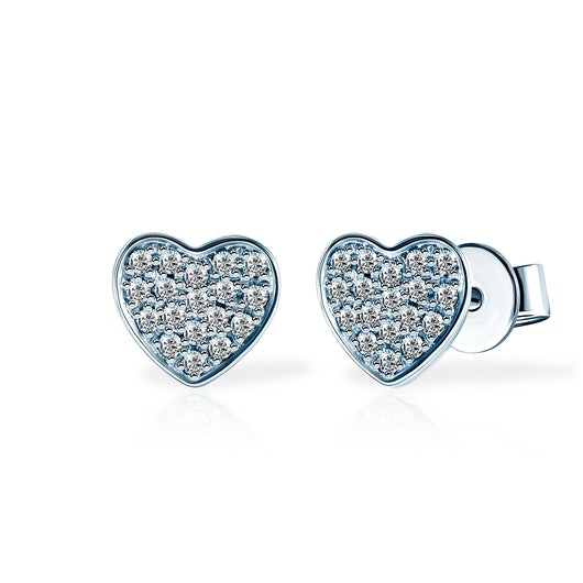 Kolczyki serce Savicki: białe złoto, diamenty