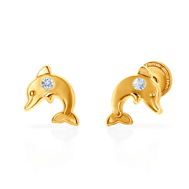 Earrings Dolphins Animals: gold, cubic zirconia