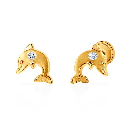 Náušnice delfíni Animals: žluté zlato, zirkony